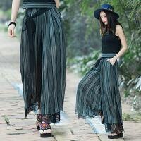 中国风女装文艺复古民族风原创设计蕾丝拼接开衩阔腿裤长裤女裤子