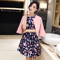 2018秋季新品女装韩版时尚两件套印花裙子 秋款名媛套装连衣裙女