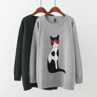 胖妹妹加肥加大码女装秋冬韩版厚猫咪打底衫长袖圆领套头修身毛衣