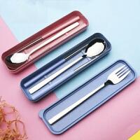 学生三件套筷子盒大人便携餐具创意304不锈钢筷子勺子叉子套装