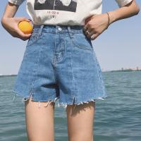 2018春夏新款韩版百搭牛仔超短裤高腰a字宽松显瘦阔腿热裤女学生 牛仔蓝 百搭