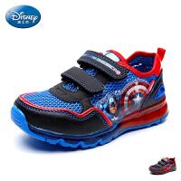 迪士尼童鞋2017新款网面鞋男童单魔术贴慢跑鞋中小童卡通运动鞋灯鞋