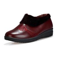 秋冬季保暖中老年妈妈女鞋老太太大棉鞋加绒老人皮鞋女防滑奶奶鞋