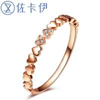 佐卡伊玫瑰18K金钻石求婚戒指钻戒女戒珠宝-心恋 礼物送女友