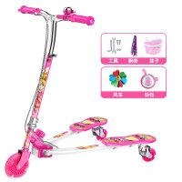 儿童蛙式滑板车3-12岁8男女孩三四轮摇摆划板车滑滑溜溜6剪刀车10 双刹闪光轮 (粉色)