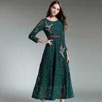 秋季新款刺绣蕾丝淑女连衣裙修身显瘦百搭裙