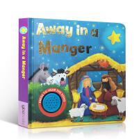 英文原版 儿童纸板书 away in a manger好玩的低幼发声经典童谣唱歌纸板发声圣诞音乐