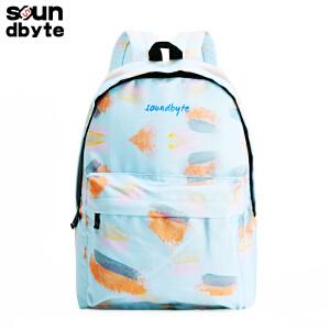【支持礼品卡支付】soundbyte浅蓝色水彩韩版双肩包女印花休闲书包帆布旅行背包