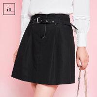 高腰短裙子拉夏贝尔7m2017秋装新款黑色宽松气质百褶a字半身裙女