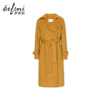【商场同款】伊芙丽冬装新款毛呢外套羊毛中长款双面呢大衣女