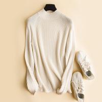 羊绒衫女秋冬季加厚色短款羊毛针织衫半高领打底套头毛衣