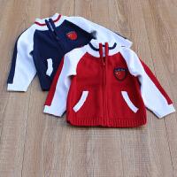 儿童全棉针织衫立领棒球服拉链外套男童女童宝宝婴儿毛线衣开衫