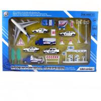 回力飞机客机合金套装玩具儿童玩具场景警车拖车油罐车小汽车模型