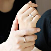 925纯银情侣戒指一对日韩简约冷淡风素圈可刻字活口学生清新对戒
