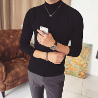 新款英伦风男士韩版修身长袖打底衫毛衣针织衫男装秋冬季个性半高