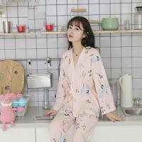 日式和服睡衣女秋纯棉长袖甜美可爱春秋季全棉家居服两件套装女
