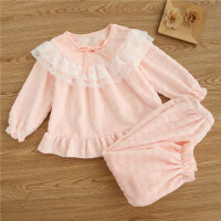 儿童珊瑚绒睡衣女童宝宝秋冬季法兰绒套装女孩公主母女亲子家居服 粉色