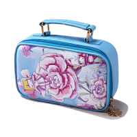 博纳屋张小盒花仙子化妆包可爱大号皮革收纳包韩版女士包中包蓝色