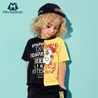 迷你巴拉巴拉男童幼童T恤2018新款夏季时尚纯棉儿童圆领短袖体恤