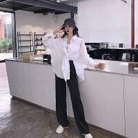 宽松显瘦长袖白衬衫女夏季2018新款韩版休闲百搭防晒外套开衫 白色 均码