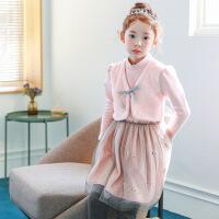 2019 新款公主裙童装女童打底裙韩版中大童加绒加厚网纱连衣裙 粉色