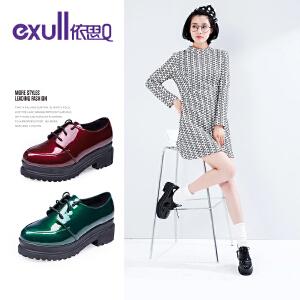 依思q新款纯色镜面松糕鞋舒适圆头厚底单鞋女鞋