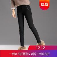 冬季裤子女显瘦羽绒裤女外穿打底裤高腰弹力加厚保暖棉裤白鸭绒裤 黑色