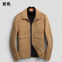 男士羊毛呢大衣外套短款翻领 双面尼呢子大衣拉链 羊绒大衣男