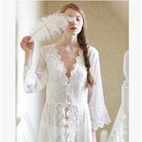 宫廷仙气睡袍女大码睡衣秋性感新娘孕妇装海滩写真蕾丝公主长裙 白色