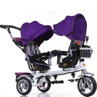 儿童三轮车双胞胎婴儿推车可坐躺脚踏车