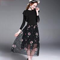 欧美风荷叶边纱网长袖上衣+刺绣纱网背心裙两件套