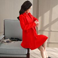 秋冬季中长款百搭毛呢外套套装新娘敬酒服结婚回门晚礼服女装加厚 红色(单独外套) X