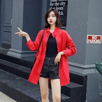 茉蒂菲莉 风衣 女士立领长袖单色刺绣铆钉上衣秋季新款时尚韩版女式休闲潮流拉链中长款外套