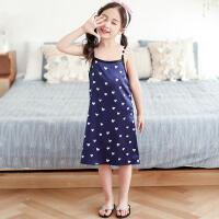 儿童连衣裙 女童睡裙冰丝儿童家居服夏季新款仿真丝睡衣丝绸大童吊带连衣裙子