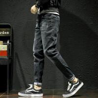 黑色弹力牛仔裤男宽松加肥加大码新款修身小脚裤潮流胖子春季裤子