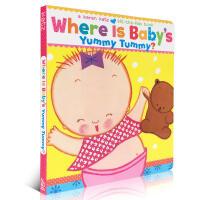 英文原版纸板翻翻书Karen Katz卡伦卡茨Where Is Baby's Yummy Tummy 纸板书 亲子英语