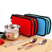 旅行便携餐具套装不锈钢勺子筷子叉子碗筷 饭盒双人不锈钢餐具包套装