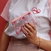 超可爱ins火烈鸟化妆包收纳小包洗漱包手拿包学生可爱笔袋