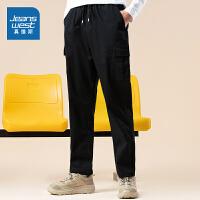 真维斯男装 秋装新款 弹力双丝光斜纹布工装平脚长裤