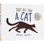 凯迪克大奖 英文原版绘本 他们都看见了一只猫 They All Saw a Cat 精装 2017年获奖绘本 Bren
