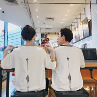 2018新款韩版情侣装夏装短袖女学生班服T恤夏季宽松半袖百搭bf潮