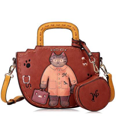 沐鱼muyu 新款原创女包个性印花卡通复古新月子母包单肩斜挎手提包 复古猫先生