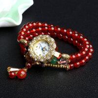 红玛瑙手链手串女金银色石英表简约时尚潮流水钻手表防水