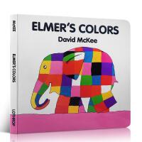 英文原版绘本 纸板书Elmer's Colors 艾玛花格子大象的颜色 2-3-4-6岁儿童阅读启蒙知识 廖采杏推荐书