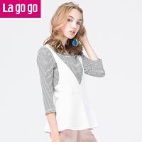 【5折价84.5】Lagogo/拉谷谷2017年秋季新款女装条纹七分袖针织衫两件套女甜美