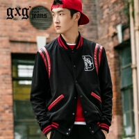 gxg.jeans男装秋季黑色修身青年休闲韩版棒球服夹克外套63921018