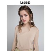 【5折价169.5】Lagogo/拉谷谷2018秋季新款优雅奶茶针织衫HCMM438A29