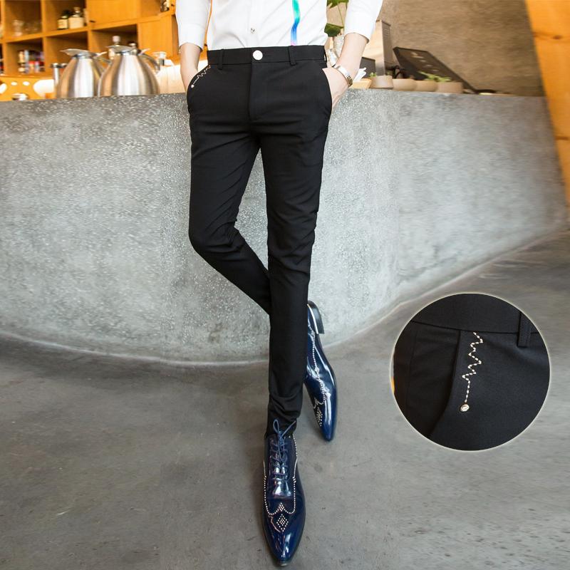 时尚发型师男裤 新款青年弹力免烫小西裤 小脚显瘦休闲裤子 发货周期:一般在付款后2-90天左右发货,具体发货时间请以与客服协商的时间为准