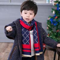 韩版秋冬儿童保暖仿羊绒英伦围脖小孩男童宝宝围巾潮中童新年礼物
