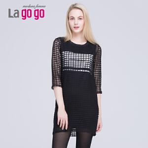 lagogo正品春秋季新款淑女韩版纯色七分袖连衣裙短裙两件套